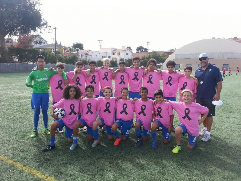 Pats LA B2003 wearing their pinktober warm up shirts!